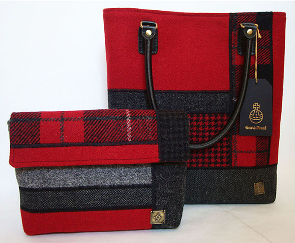 Red collection of Harris Tweed Bags
