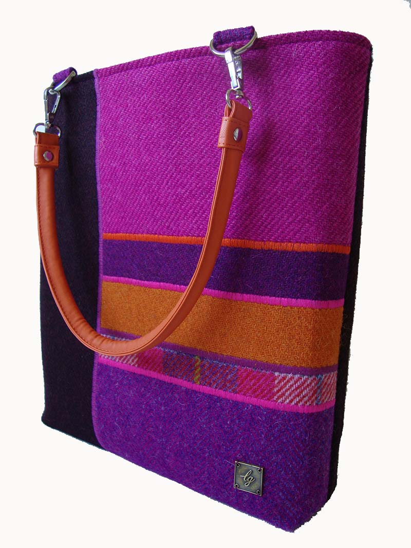 Purple and orange Harris Tweed Bag