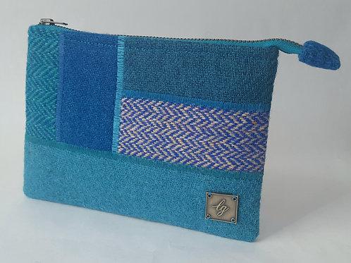Blue tones Harris Tweed purse