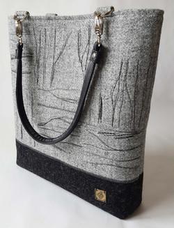 Grey stitched large bag