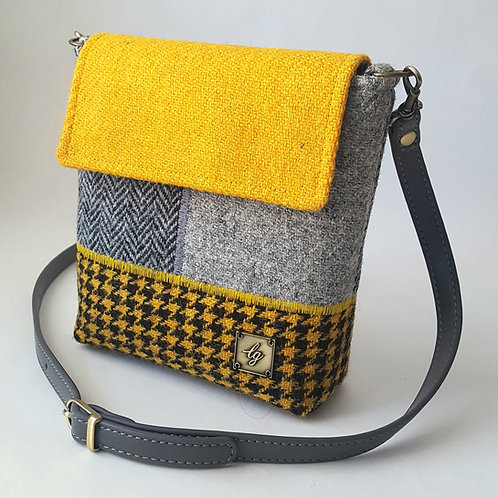 Mini Yellow and grey Harris Tweed bag