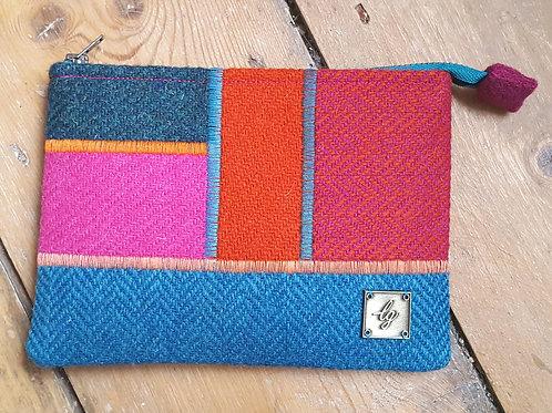 Bright multi colour Harris Tweed Purse