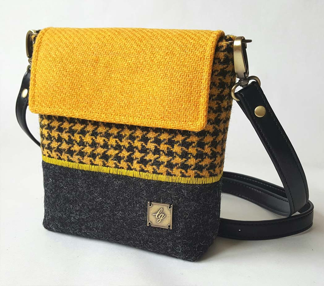 Mini yellow harris tweed bag