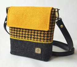 Mini yellow harris tweed bag