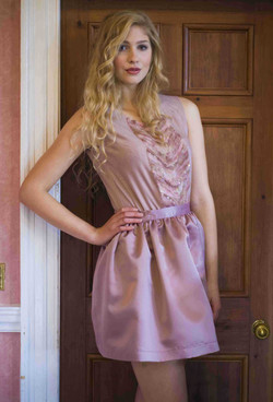 Pale dusky pink jersey vest top with knitted panel embellished with sequins with