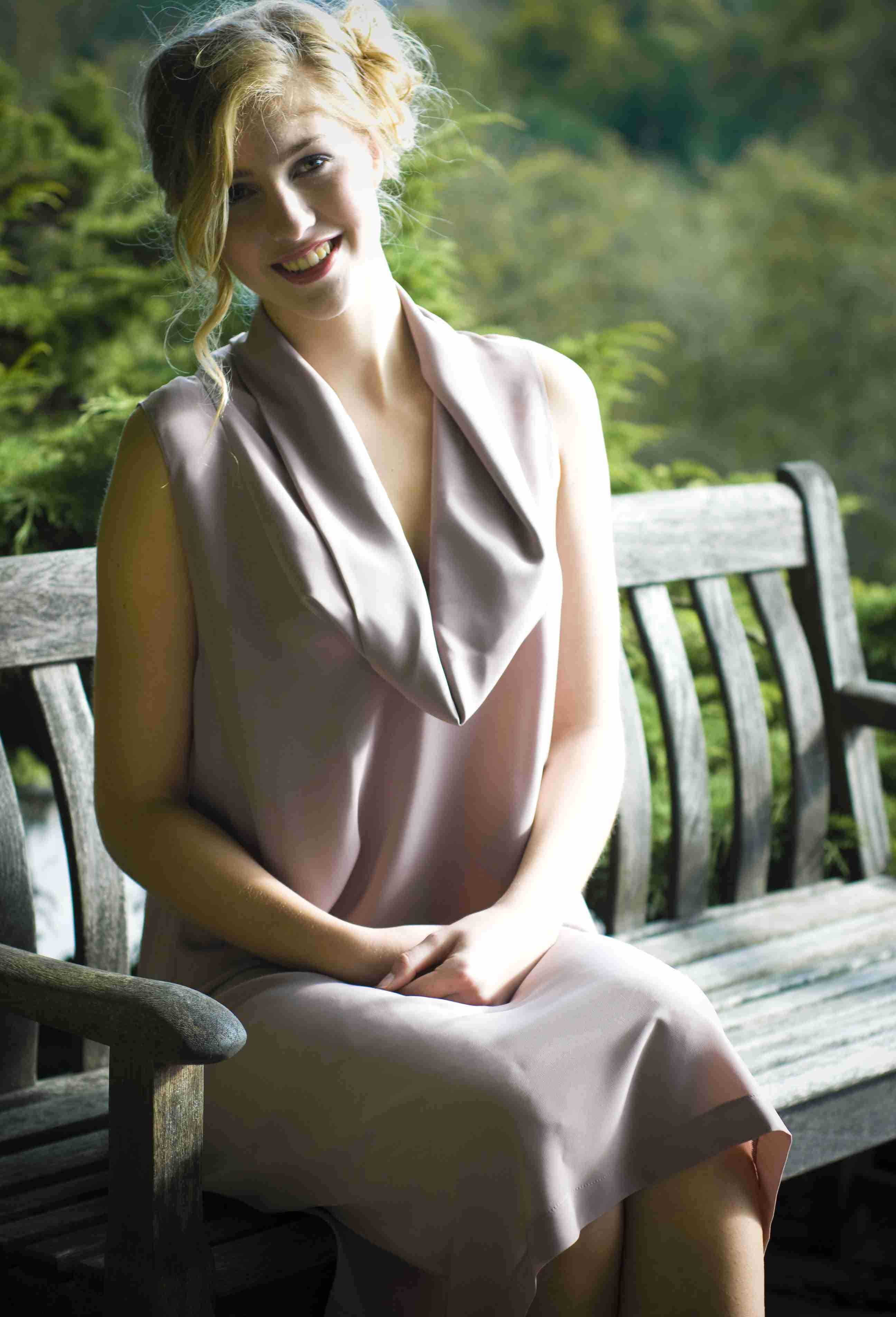 Pale dusky pink dress with cowl collar.jpg