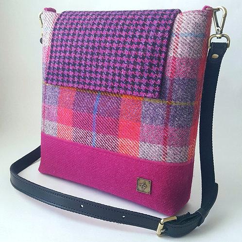 Medium pink Harris Tweed bag