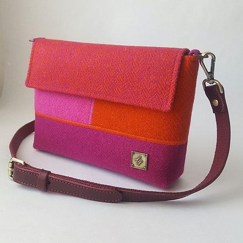 Small pink and orange Harris Tweed Bag