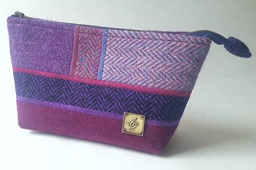 Purple Harris Tweed Make-Up Bag