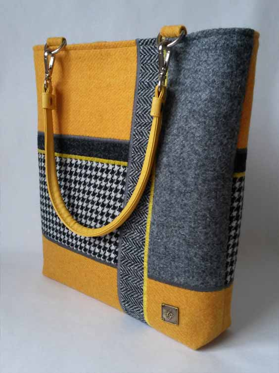 Yellow and Grey Harris Tweed bag