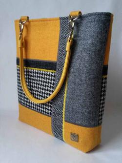 Yellow and Grey Harris Tweed bag
