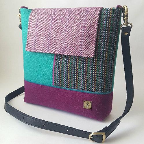 Medium purple and green Harris Tweed Bag