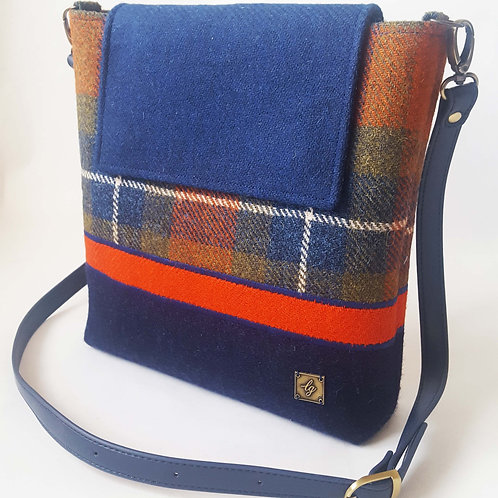 Medium blue and orange Harris Tweed Bag