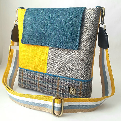 Medium teal, yellow, and houndstooth Harris Tweed Bag