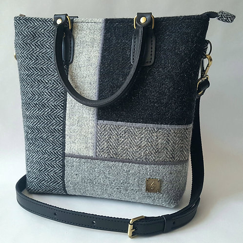 Black and grey Harris Tweed bag