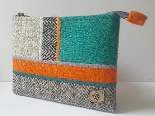 Green, orange and grey Harris Tweed Purse