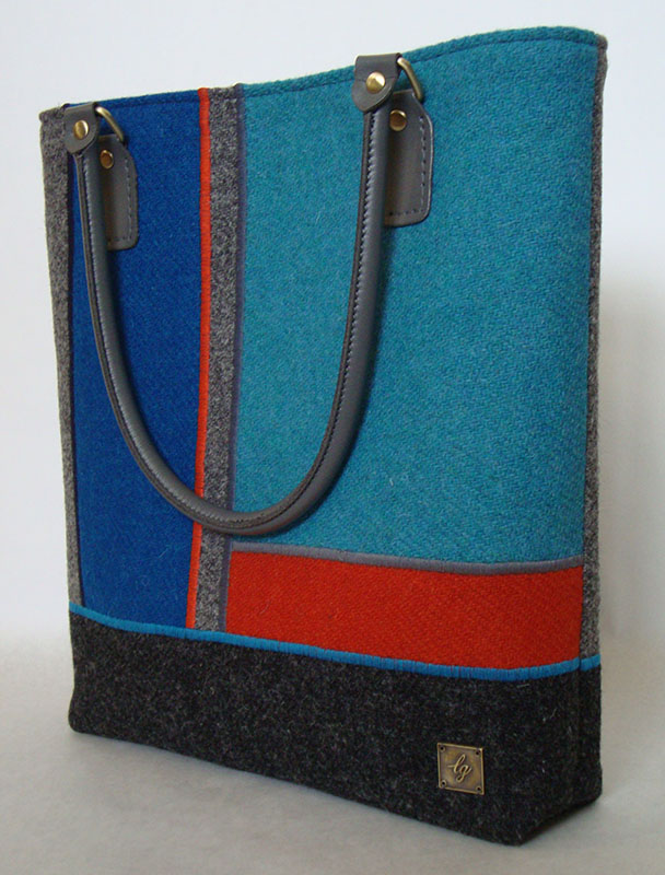 Blue and orange large Tweed Bag