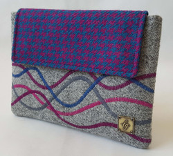 Blue and purple tablet case/clutch