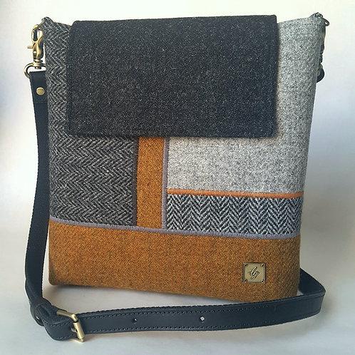 Medium brown and grey Harris Tweed bag