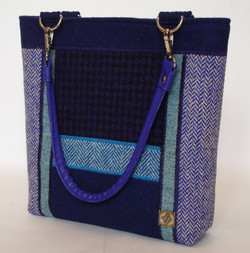 Blue Harris Tweed Bag
