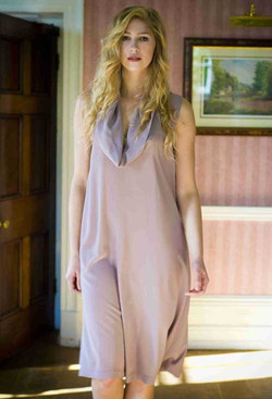 Pale dusky pink dress with a cowl collar.jpg
