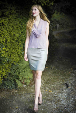 Pale dusky top with a cowl collar and shimmering jersey skirt.jpg