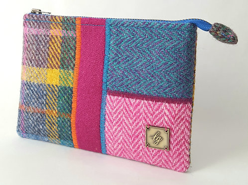 Multicolour Harris Tweed purse
