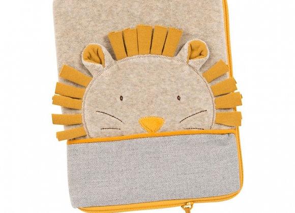 Protège carnet de santé à broder tête lion avec prénom
