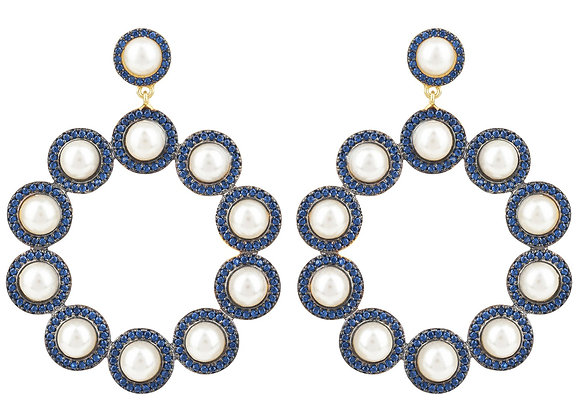 The Gatsby Pearl Earrings Sapphire Blue CZ Gold