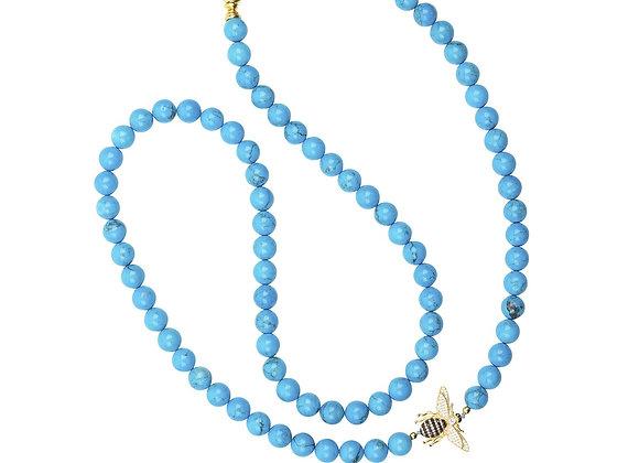 Honey Bee Turquoise Gemstone Long Necklace Gold