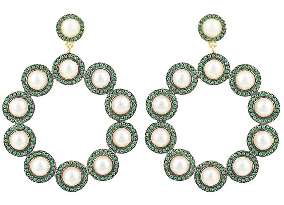 The Gatsby Pearl Earrings Emerald Green CZ Gold