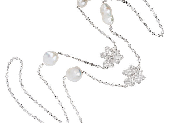 Baroque Pearl Long Necklace Flower White Silver