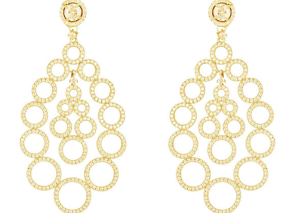 Circles Teardrop Large Statement Earrings Gold
