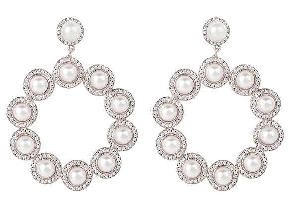 Gatsby Pearl Gemstone Statement Earrings Silver