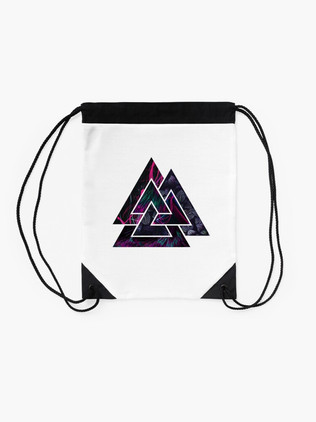 Drawstring Bag with Valknut Symbol
