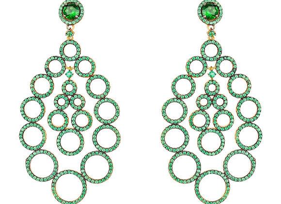 Circles Teardrop Large Statement Earrings Green CZ
