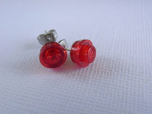 Lego 1 X Stud Earrings Translucent Red