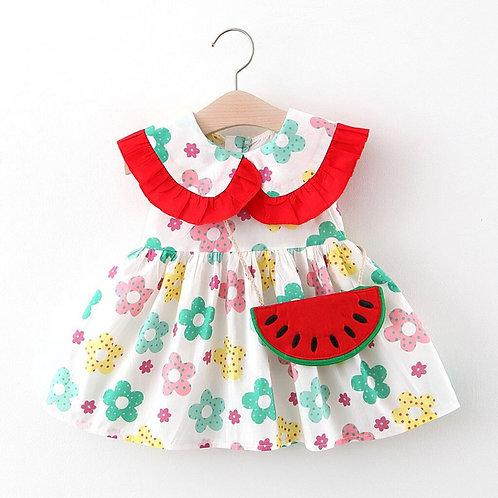 Little Girl Doll Collar Floral Watermelon Dress