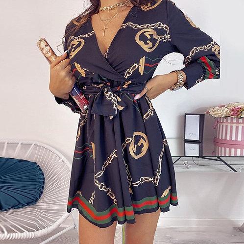 Elegant Vintage, Print Mini Dress