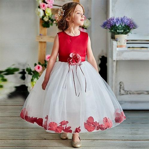 Flower Hem Tulle Gown