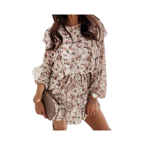 Elegant Floral Ruffled Dress