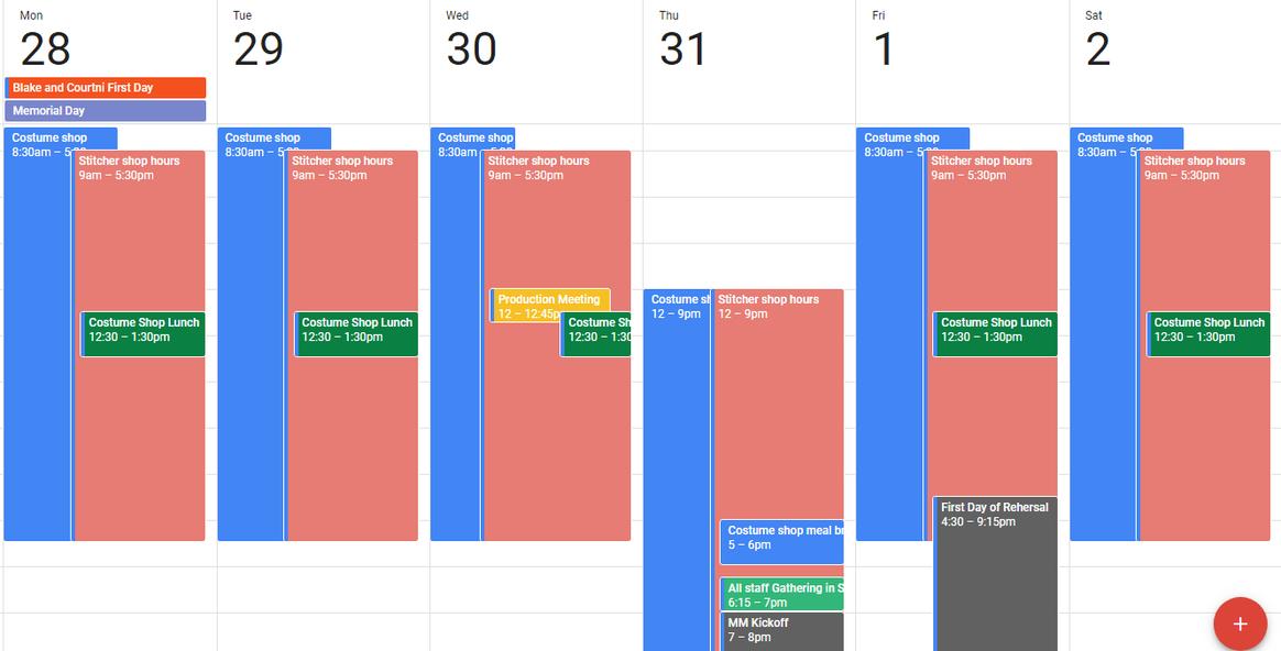 Hello Dolly schedule