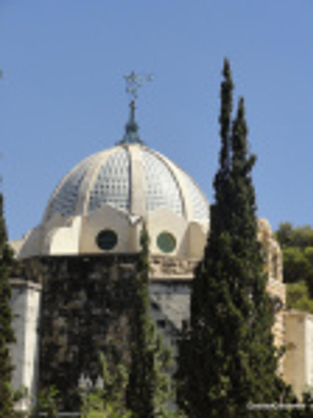 Cypress trees outside mausoleum in Jerusalem