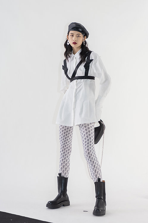 White Long Sleeves Shirt Dress