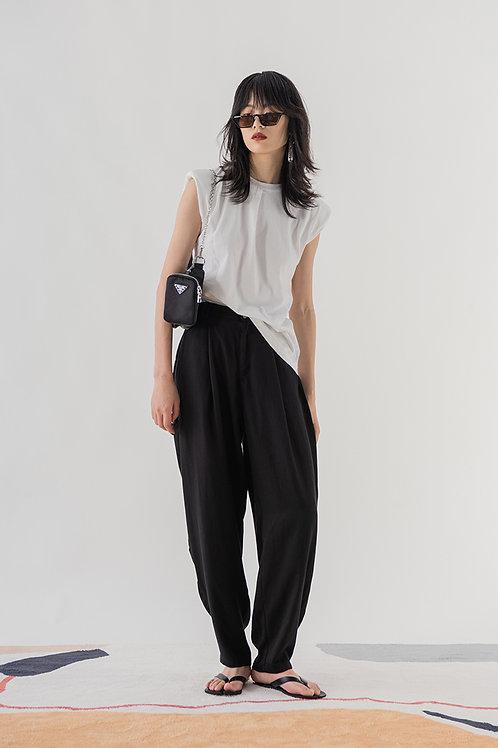 White Sleeveless Shirt w/ Shoulder Pads