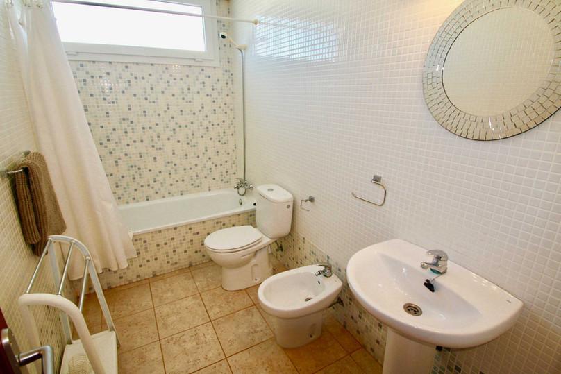 Bright bathroom with tub