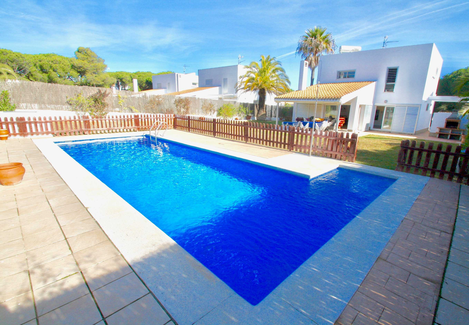 Modern property with fenced pool