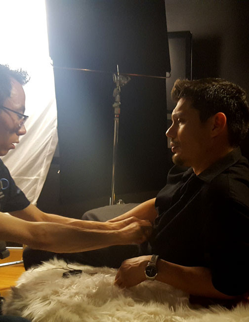 Rudy J. Garcia, Sound Recordist, with Actor Andres Hudson