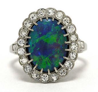 Black Opal & Diamond Cocktail Ring