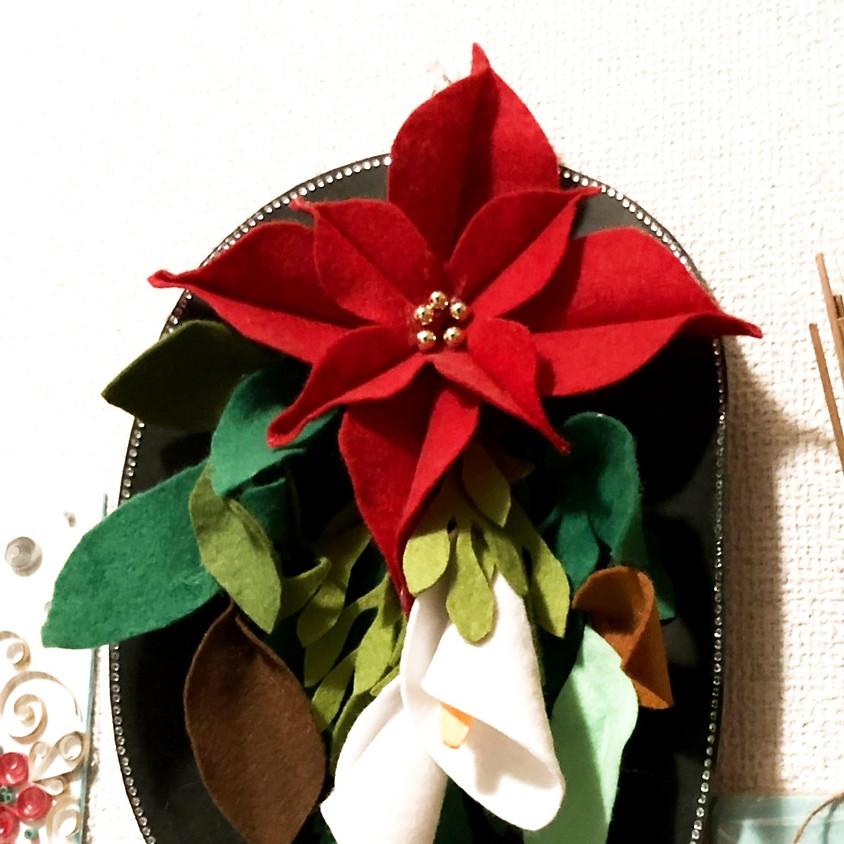 フェルトフラワーでつくるクリスマススワッグ(Mama's cafe)